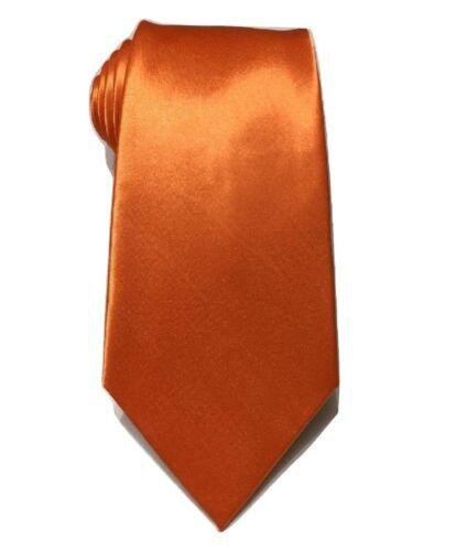 Orange Plain Satin Tie Skinny Classic Wedding Business Prom UK