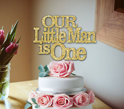 Miraculous Our Little Man Is One Glitter Cake Topper 1St Birthday Cake Smash Funny Birthday Cards Online Ioscodamsfinfo