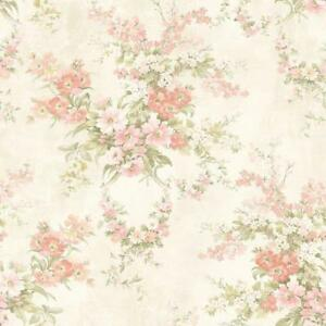 Wallpaper-Designer-Pink-Coral-Green-Yellow-Floral-on-Cream-Faux