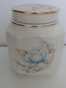 Vintage-English-Sadler-Tea-Caddy-Ginger-Jar-with-Lid-Daisy-amp-Blue-Rose