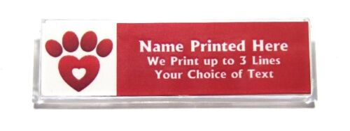 Paw Heart Custom Name Tag Badge ID Pin Magnet for Vet Tech Shelter Pet Rescue