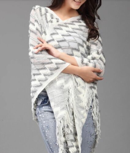 Wool Cotton Tassel Poncho Cape Jumper Shawl Jacket Boho Bohemian Knit Winter
