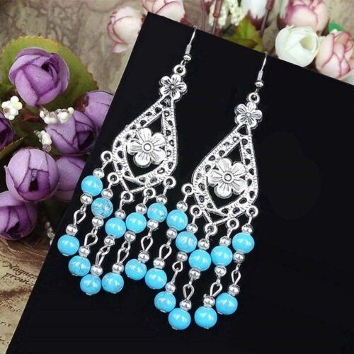RED Water-Drop Women Chandelier Drop TURQUOISE Earrings Alloy Dangle Beads