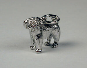 Sterling-Silver-Pug-Dog-Charm-Free-U-S-Shipping-amp-Lobster-Clasp