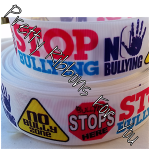 """Bullying Awareness 3/"""" wide grosgrain ribbon the listing is for 2 yards total"""