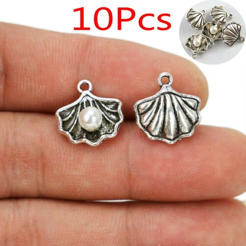 10Pcs Tibetan Silver Antiqued Pearl in Shell Conch Charms Pendants Jewerly DIY