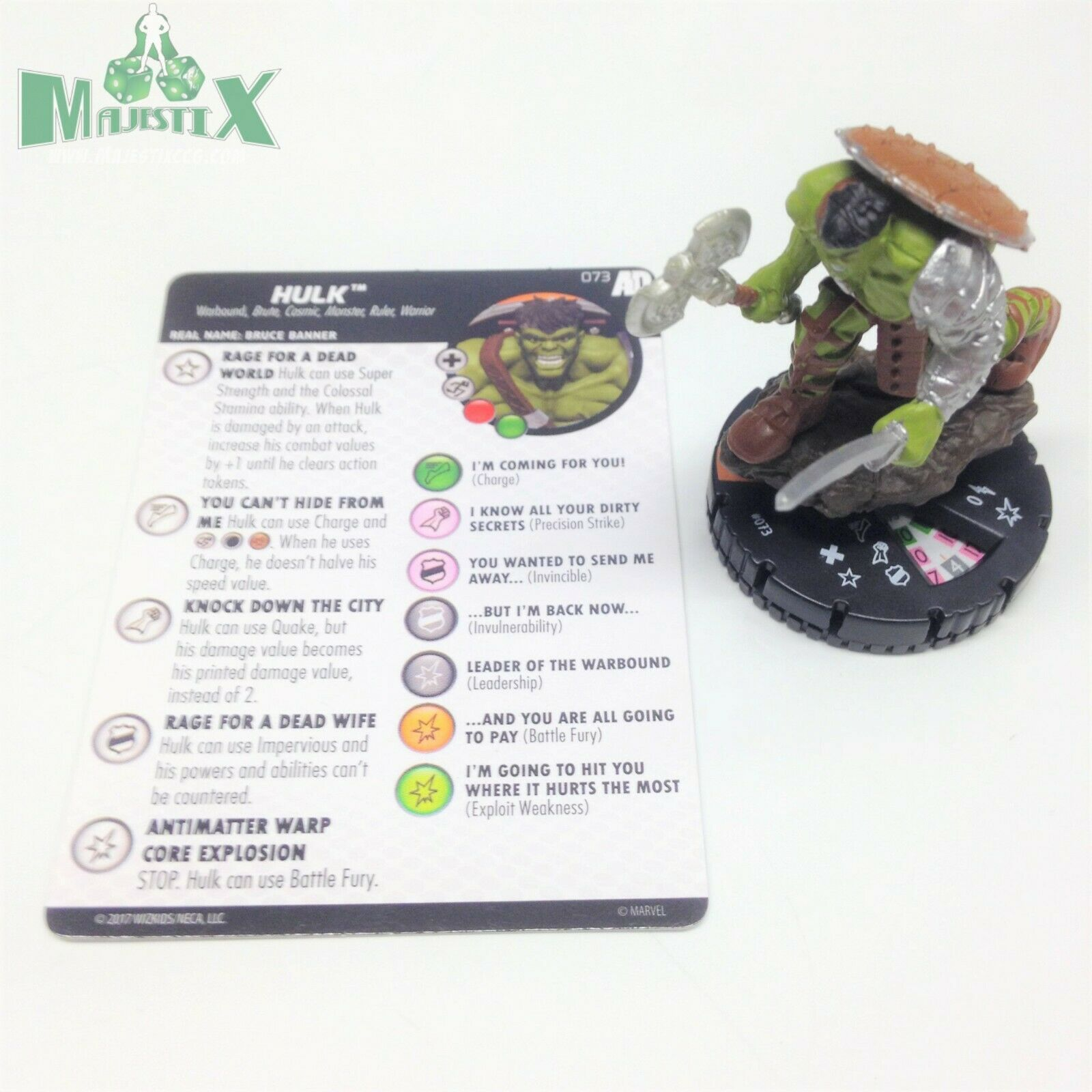 Heroklix Avengers Defenders War set Hulk (värld Breaker) Chase Fig W card