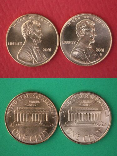 2001 P D Lincoln Memorial Cents From Uncirculated Mint Sets Combined Shipping