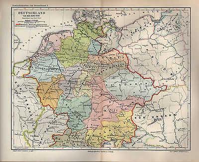 MüHsam Landkarte Map 1895: Deutschland Um Das Jahr 1000. Maßstab: 1 : 5.500 000 History Feine Verarbeitung