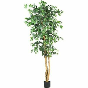 Decorative Natural Looking Artificial Potted 6 Ficus Silk Tree Faux Fake Plants Ebay