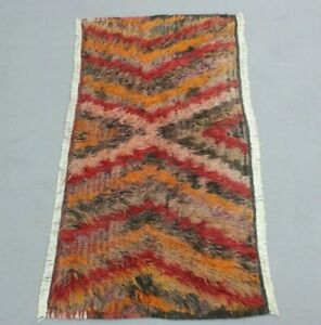 Turkish Traditional Hand Knotted Carpet Anatolian Ethnic Wool Runner Rug 2x4 ft.