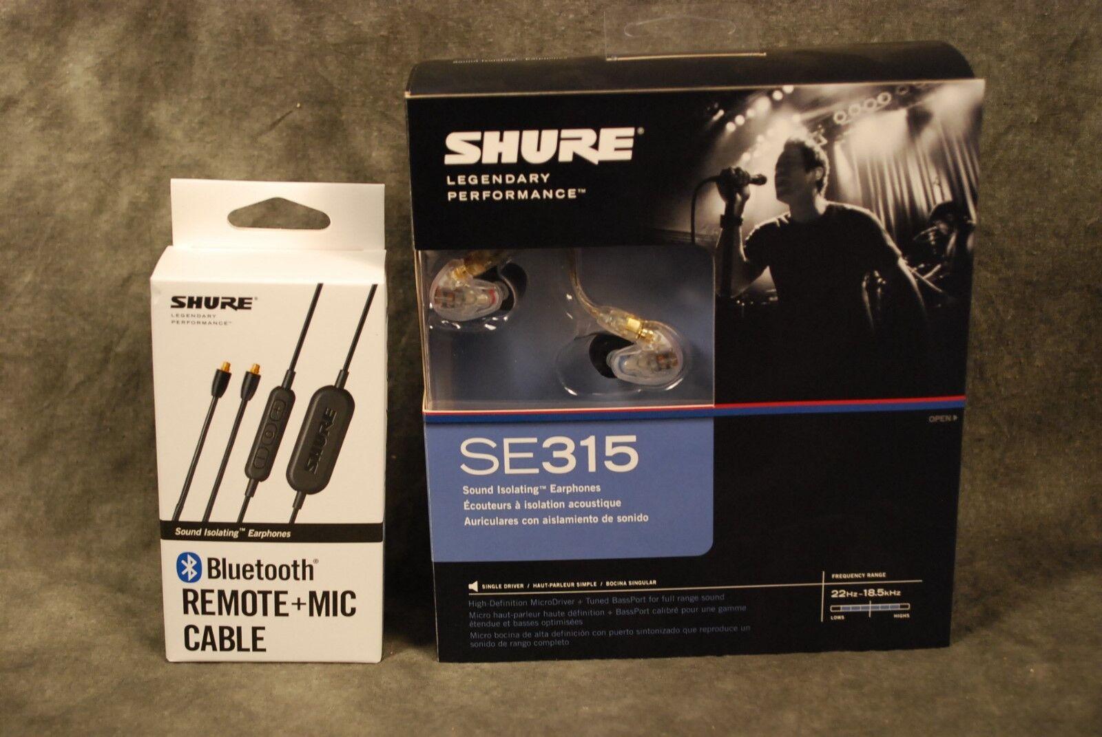 Shure SE315-CL SE315 In Ear Monitors Earphones NEW Dealer Blautooth BT Clear