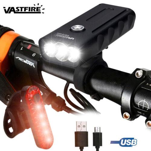 USB Charging BX3 T6 LED Bike Head Light Waterproof Front+Tail Lamp Bracket Set A