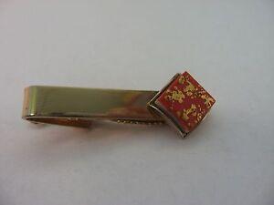 Details Zu Sehr Coole Kunst Stück Orange Rotgold Ton Flecken Quadrat Krawattennadel Klammer
