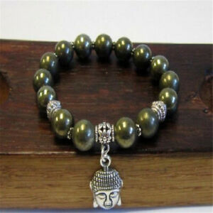 Natural-Gemstone-Buddha-Head-Beaded-Men-Womens-Pyrite-Rock-Handmade-Bracelet