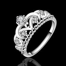 NEW Fashion solid wedding Silver pretty crown LADY CZ Crystal Ring Jewlry R601