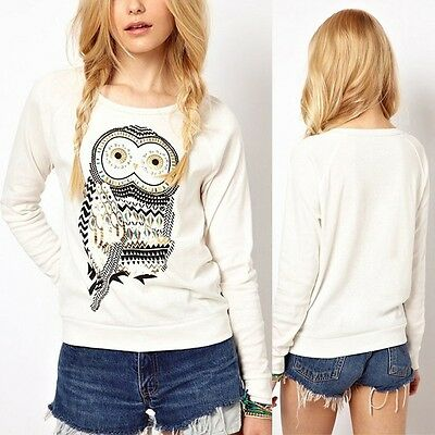 New Cute White Animal Owl Print Beading Tops Blouse Pullover Women T-shirts