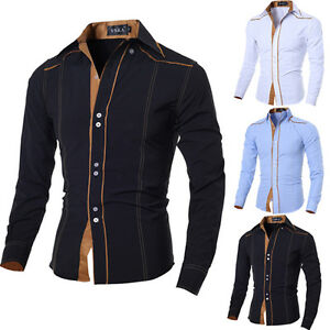 Fashion Mens Casual Slim Fit Shirts Top Long Sleeve Dress