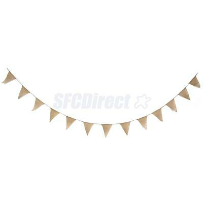 2.8M Rustic Jute Hessian Burlap Lace Bunting Shabby Chic Wedding Banner 13 Flags