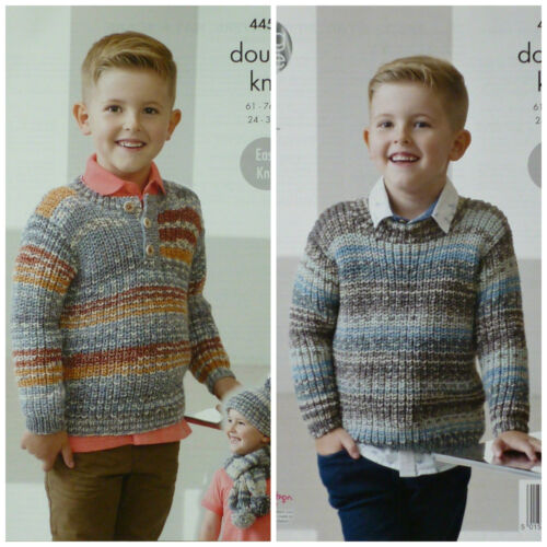 KNITTING PATTERN Childrens Easy Knit Button /& Round Neck Jumpers DK KC 4453