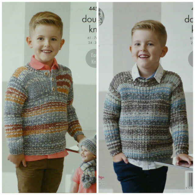 King Cole 4453 Knitting Pattern Boys Sweaters Hat Scarf To Knit In