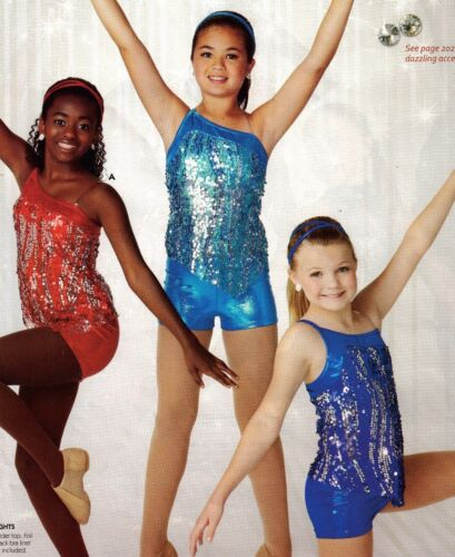 NWT Sequin Dance Costume Jazz 3 Colors Sheer top w// foil booty shorts ch//ladies