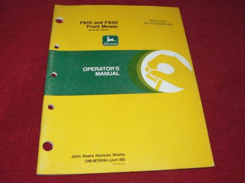 John Deere F910 F930 Front Mower Operator/'s Manual