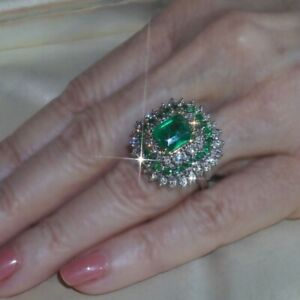 Women-925-Silver-18k-Gold-Plated-Natural-Emerald-Ring-Wedding-Jewelry-Happiness