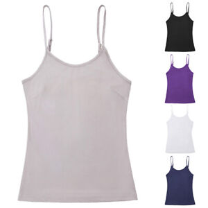 Adjustable-Tank-tops-Camisole-Plain-Womens-Ladies-Spaghetti-strap-Sleeveless