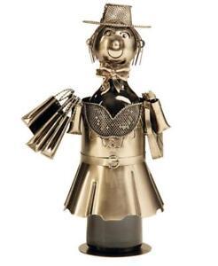 Wein-Flaschenhalter-Shopping-Girl-Beruf-Metall-Geschenk-Geburtstag