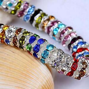 100Pcs-Crystal-Rhinestone-Czech-Silver-Rondelle-Spacer-Beads-Findings-8mm