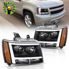 Black Headlights Assembly For 2007 2014 Chevy Avalanchesuburbantahoe Led Drl Fits 2007 Chevrolet Suburban 1500