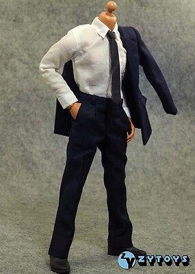 █ ZY TOYS 1/6 Blue Suit for Custom Narrow Shoulder Body Shirt Hot Men █