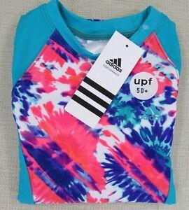 ADIDAS-Youth-Girl-039-s-Tie-Dye-Floral-Rashguard-Swim-Shirt-Ocean-Blue-8-NEW