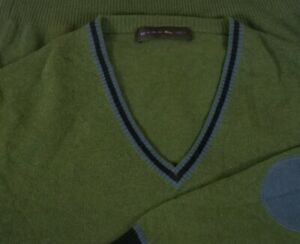 Etro-Men-039-s-Green-Wool-V-Neck-Sweater-Jumper-Sz-XL-Elbow-Patches-Made-in-Italy