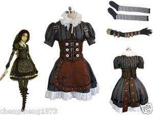 e93cae20b2f39 Details about Alice Madness Returns Alice Stream cosplay costume dress  Custom Size Halloween