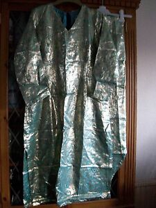 GOLD-amp-TURQUOISE-INDIAN-V-NECK-TUNIC-TOP-amp-TROUSERS-UK8-10-GC