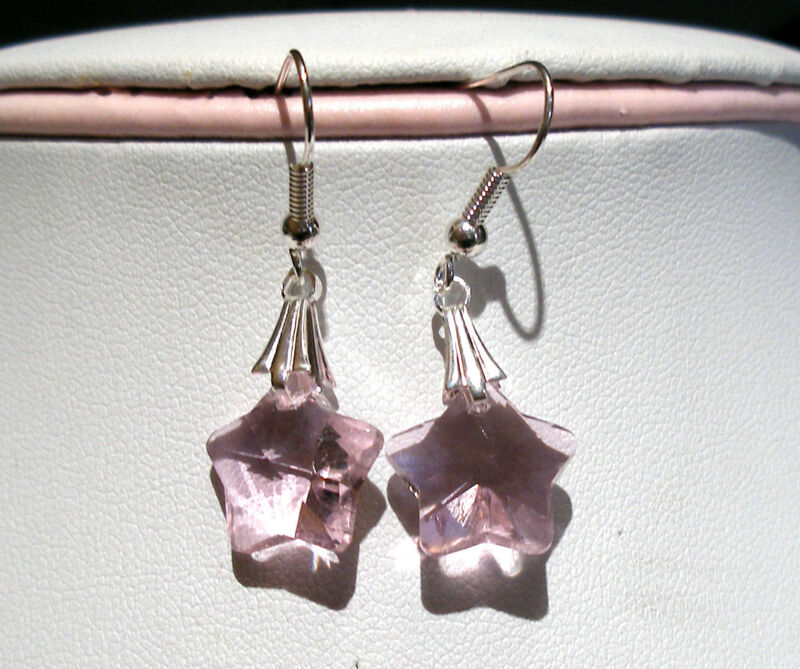 'aaa' Grade Pink Crystal Glass Star Earrings Silver Plated Earhooks Bnwot