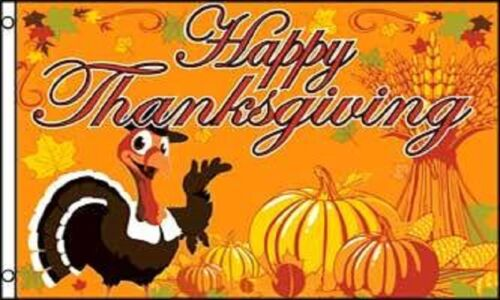 Happy Thanksgiving Turkey and Pumpkin Banner 5/'x3/' Flag !