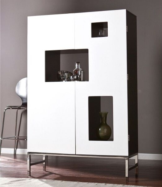 Liquor Cabinet Home Bar Furniture Wine Modern Stemware Rack Storage