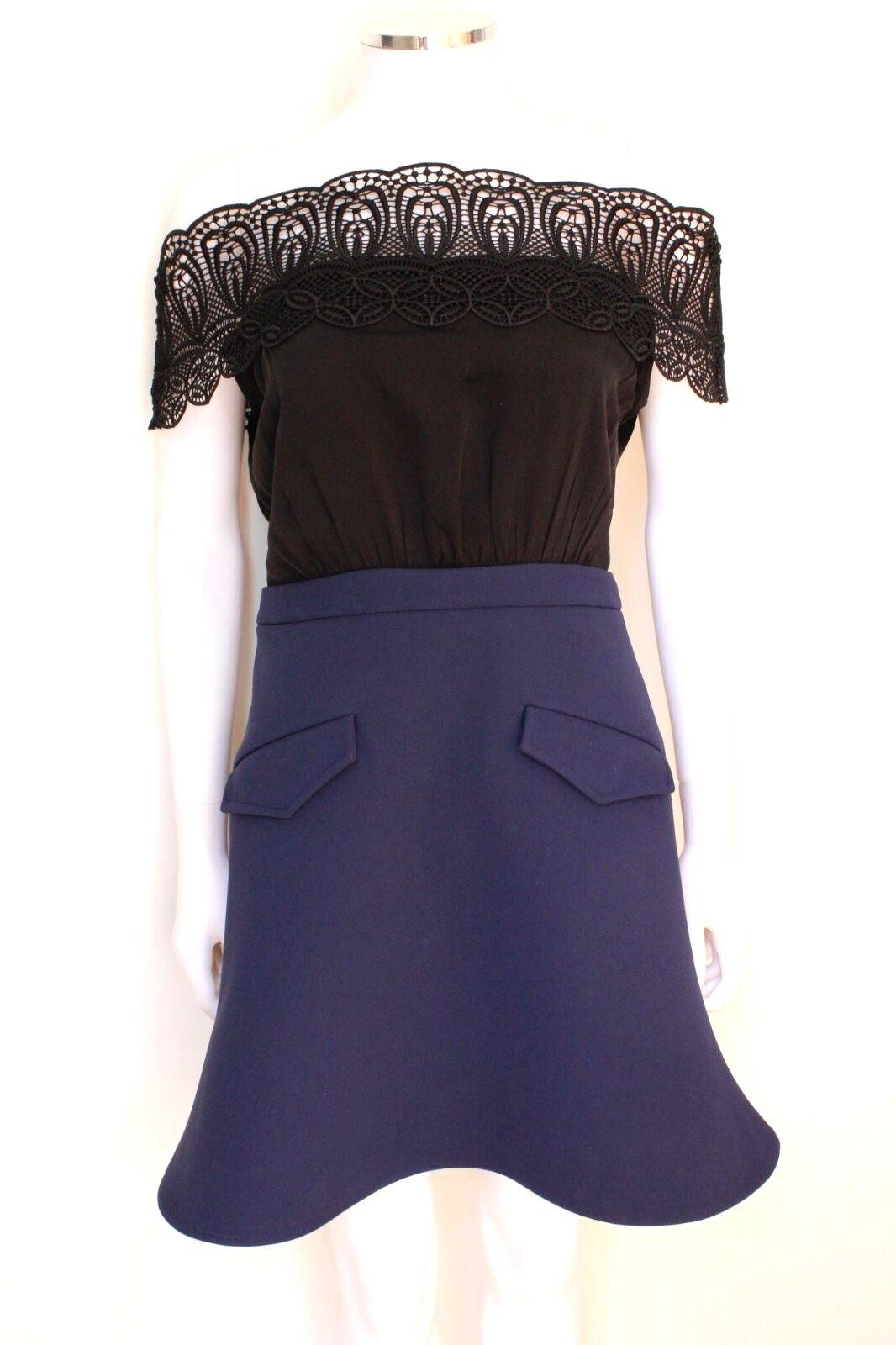 Autoritratto nero Lace Off spalla vestito blu