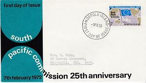 First day cover, Norfolk Island, Scott #149, 25th anniv., So. Pacific Comm, 1972