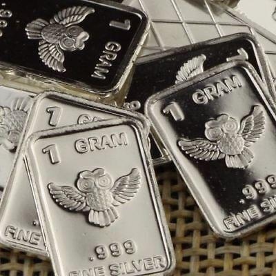 1 Gram .999 Pure Fine Solid Silver Bullion ~ Mini Art-bar ~ PANDA  ~