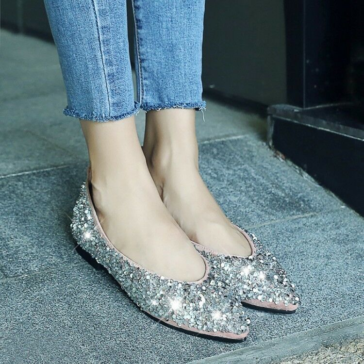 Fashion Womens Sequin Loafers Casual Pointed Toe Pumps Flat Comfy Shoes New