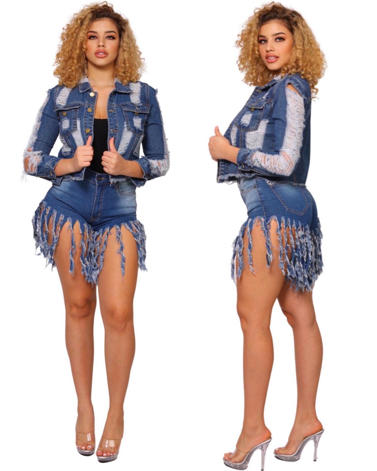 Sexy Women's Women Long Sleeve Multi Cut Hobo Jeans Jacket S, M , L , XL