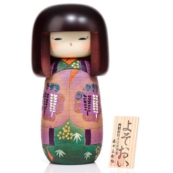 Fille dans Wisteria Kimono en en Kimono bois Kokeshi doll aeadd9