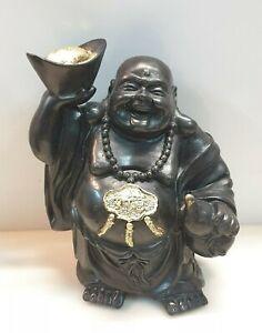 Br) Lachender Happy Buddha personaggio 27cm Nero Decorazione Feng-Shui portafortuna