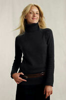 Land's End Canvas Women's Turtleneck Sweater Chunky Knit Black Xxs 00 0