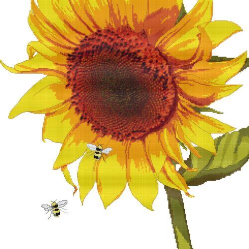 """/""""y las abejas/"""" Gráfico Digital. Patrón de punto de cruz Pdf funda de almohada de girasol"""