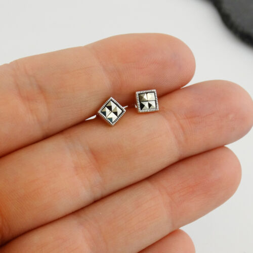 Square Marcassite post Boucles d/'oreilles-Argent Sterling 925-Clous Carrés Cadeau Nouveau